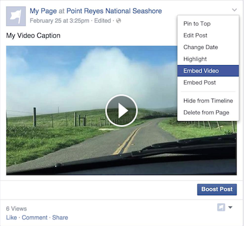 embeddable facebook video