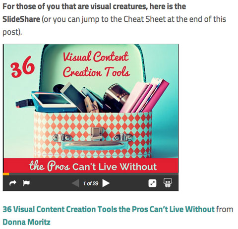 socially sorted slideshare in blog post