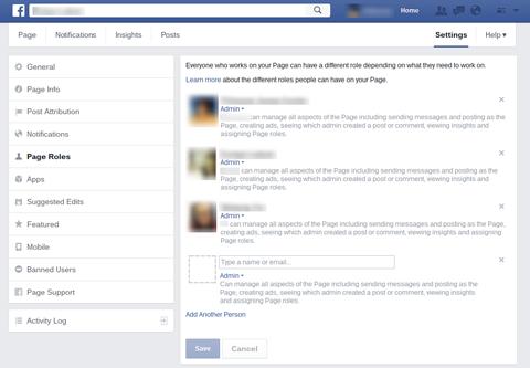 facebook page roles