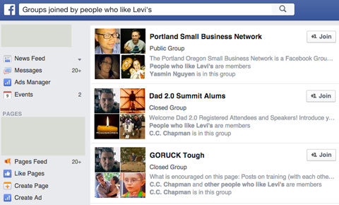 groups of fans in graph search