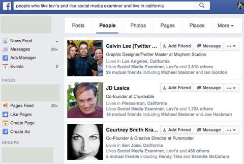 shared likes of fans in graph search