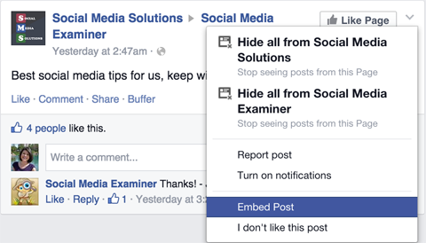 facebook embed post option