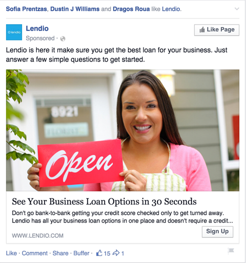 facebook page like ad example