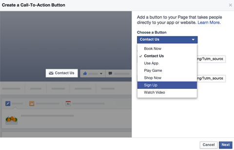 call to action button set up
