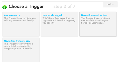 choosing a trigger in ifttt