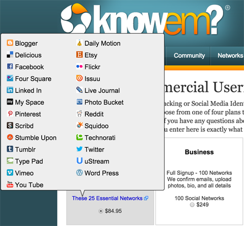 knowem username availability