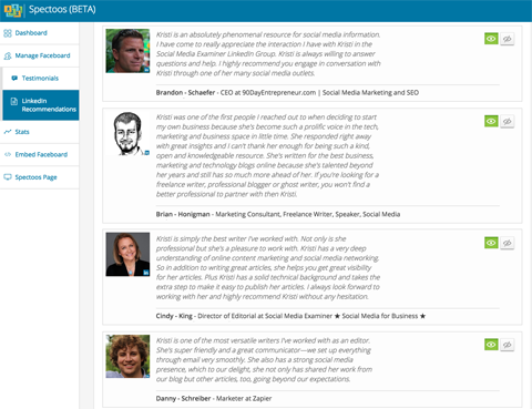 linkedin recommendations in spectoos