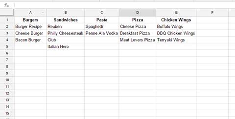 board topic spreadsheet