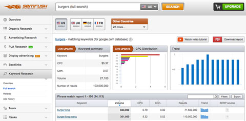 semrush keyword results
