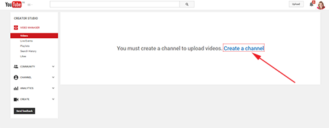 create a channel button