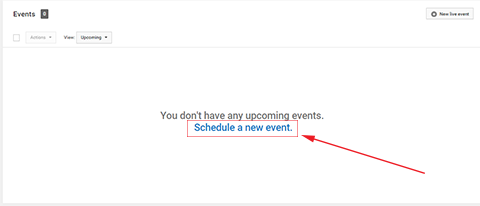 schedule a new event on youtube