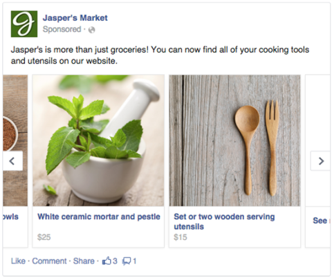 facebook multiproduct ad example