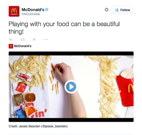 mcdonalds twitter video product promo