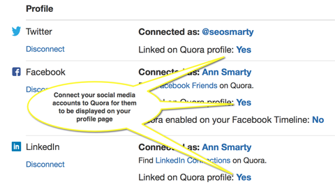 connect additional social profiles on quora