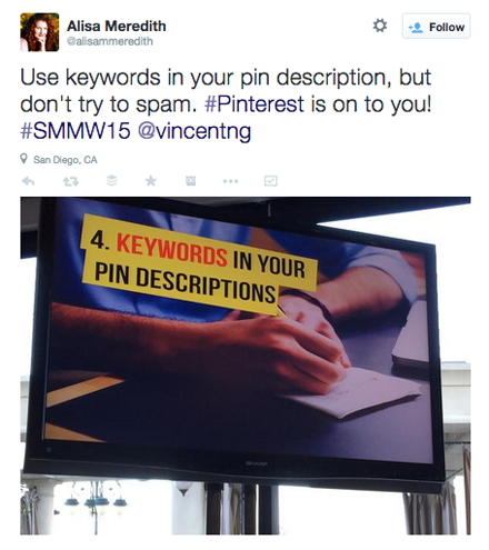 tweet from vincent ng smmw15 presentation
