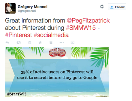 tweet from peg fitzpatrick smmw15 presentation