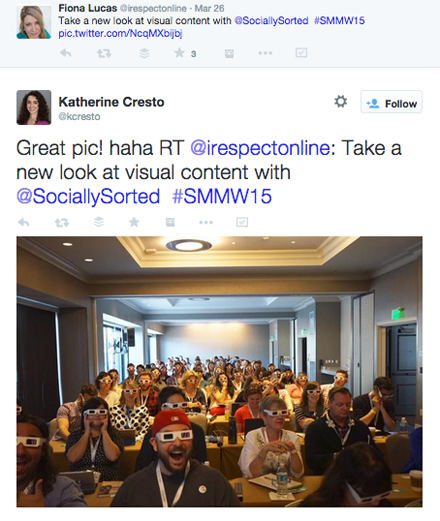 tweeted pic of attendees from donna mortiz smmw15 presentation