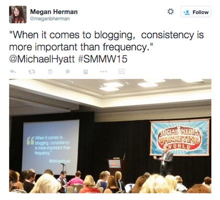 tweeted pic of michael hyatt smmw15 presentation