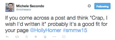 tweet from holly homer smmw15 presentation
