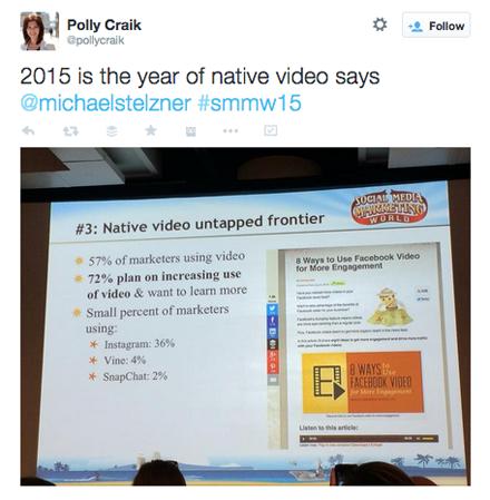 pollycraik native video tweet from smmw15