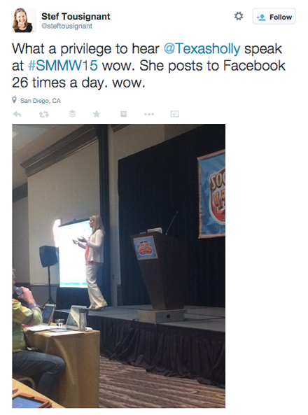 tweeted pic of holly homer smmw15 presentation