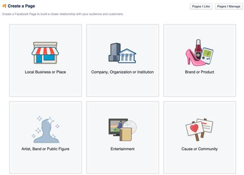 facebook page category menu