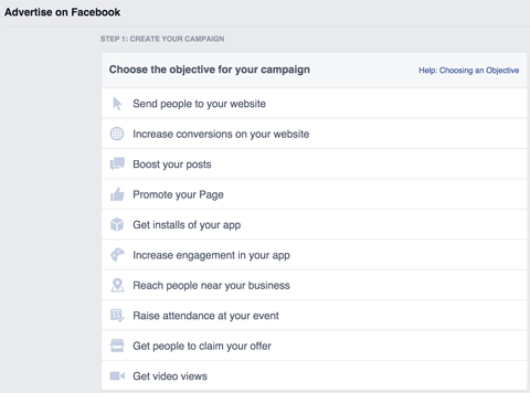facebook ad setup menu