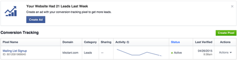 facebook conversion tracking report