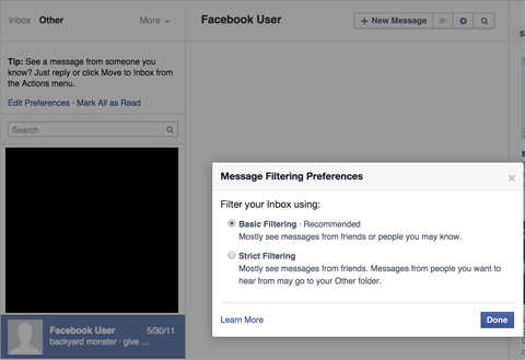 facebook messages settings menu