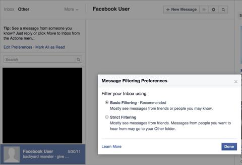 facebook messages settings menu