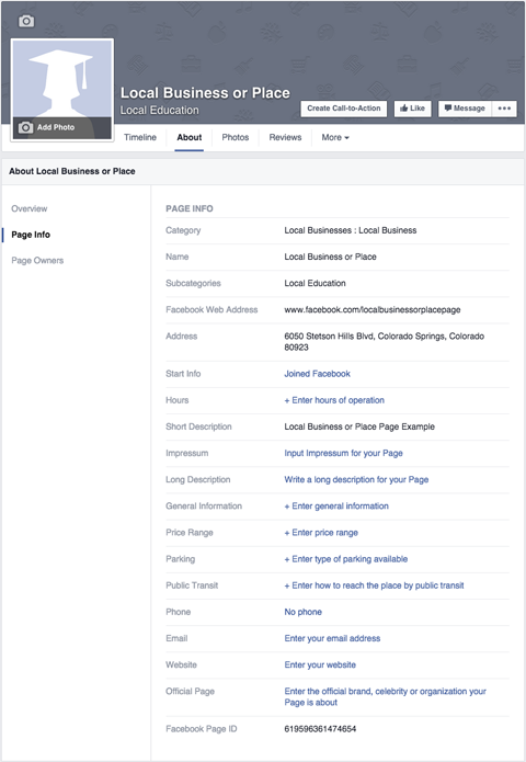 How to set up a facebook page for business social media for Facebook company page template