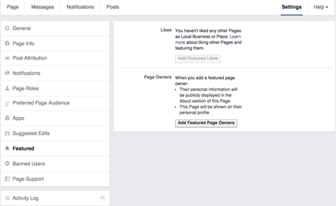 facebook page featured settings