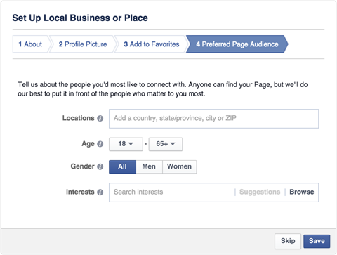 facebook local business page preferred audience