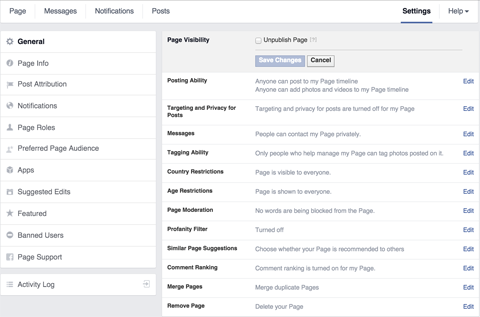 facebook page visibility settings