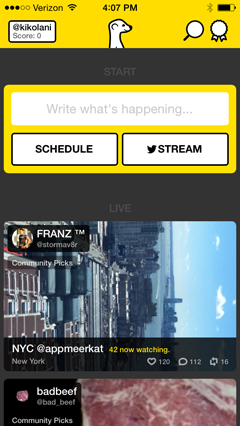 meerkat app home screen