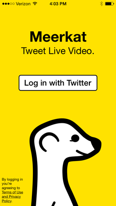 meerkat mobile login screen