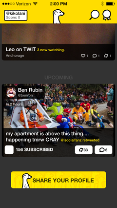 upcoming broadcasts on meerkat