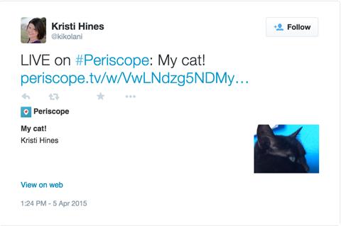 periscope broadcast tweet