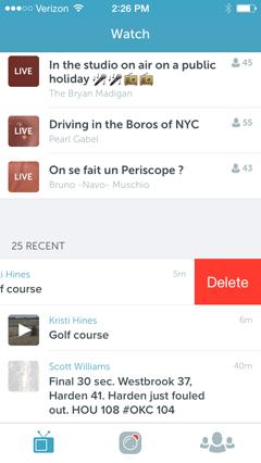 delete periscope broadcasts