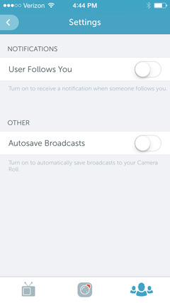 settings in periscope