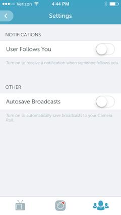 settings in periscope