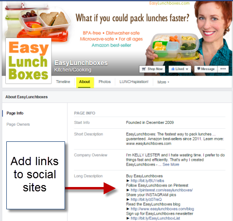social links in about section of easy lunch boxes facebook page