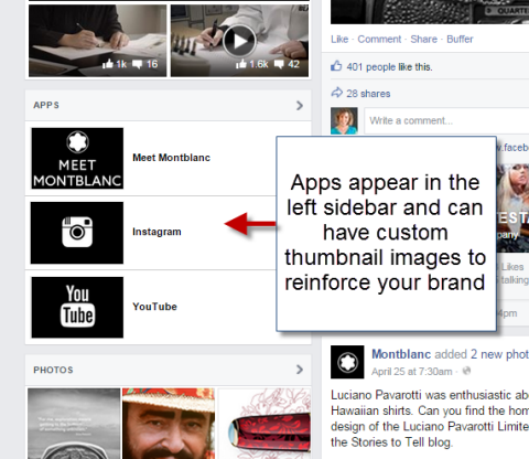social apps on left sidebar of facebook page