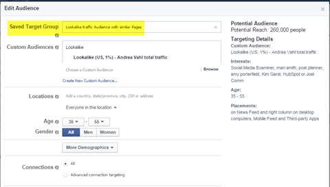 edit a saved target audience in power editor