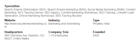 boulder seo marketing linkedin specialties example