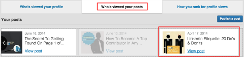 See the stats for each Publisher post under the Who's viewed your posts tab