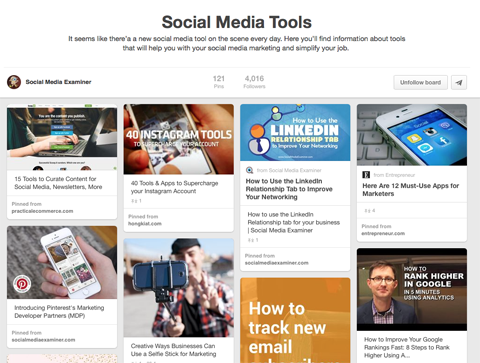 social media tools pinterest board