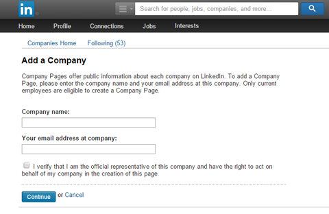 adding company page details