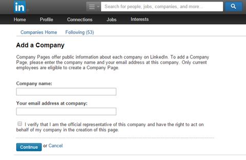 linkedin sign up company page