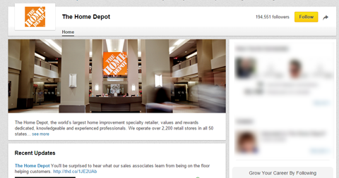 home depot company page banner